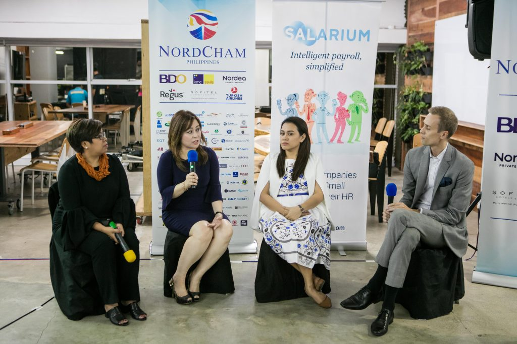 Panel discussion with the three nominees for NordCham PH's 2018 Outstanding Employer Award. Photo credit: NordCham Philippines.